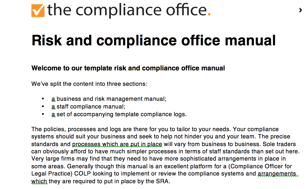 Working Seamlessly With Compliance Templates Including:
