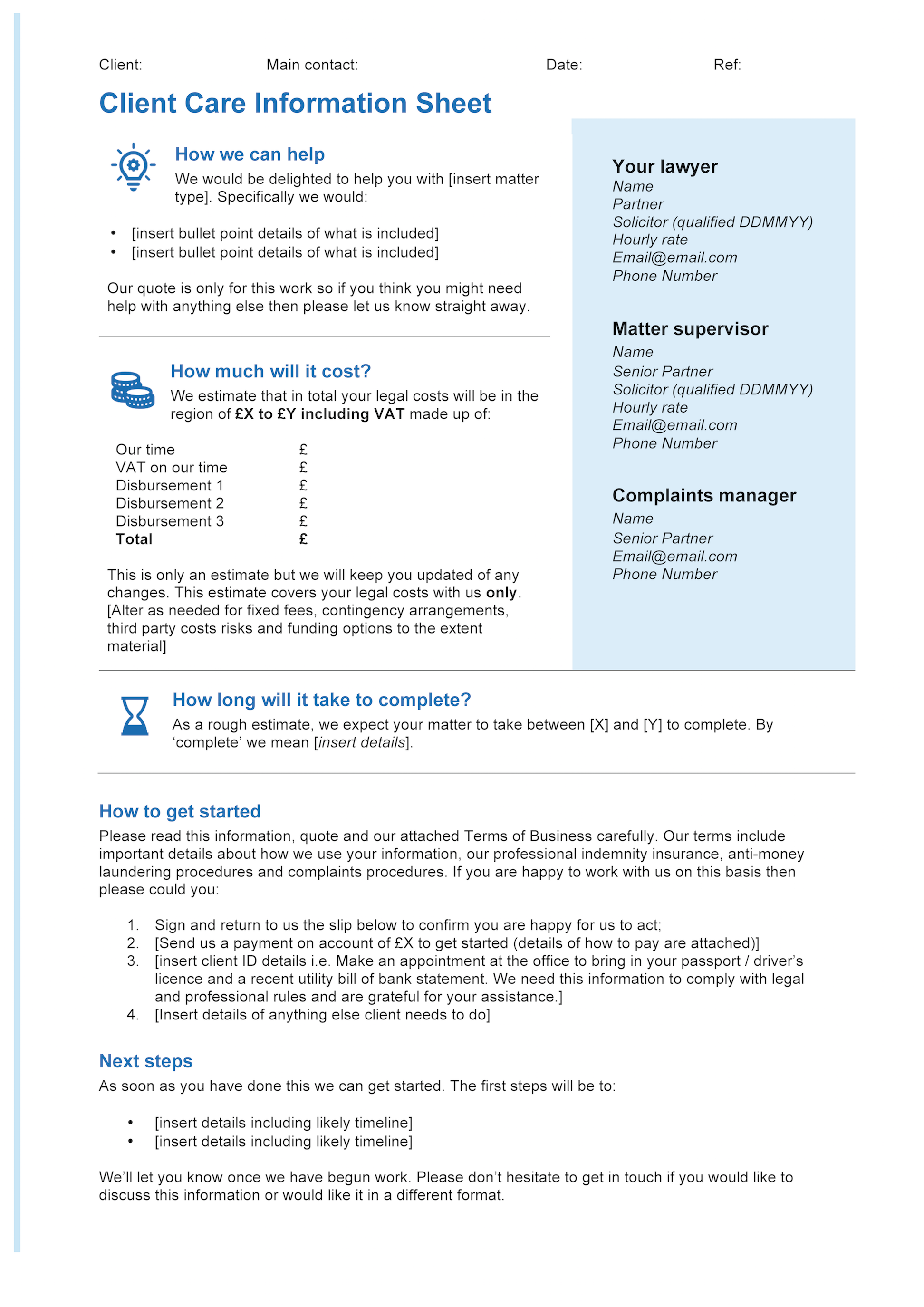 Client care letter template